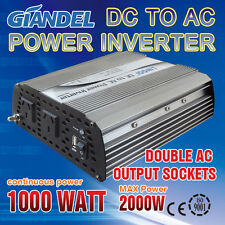 Large Shell M Sine Wave Power Inverter1000W(2000W Max)12V- 240VAC With Car Plug