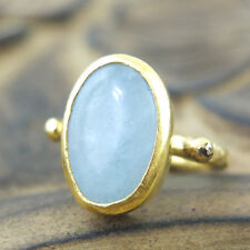Handmade Hammered Band Oval Aquamarine Ring 24K Gold Over 925K Sterling Silver