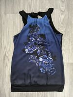 White House Black Market Floral Pleated Sleeveless Top -Size Small - Black Blue