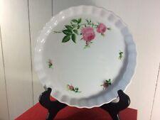 "Christine Holm Tart BakeWare Pie Baking Pan Quiche Fluted Ceramic Pink Roses 9"""