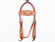 PINK PURPLE WESTERN LEATHER HORSE COWGIRL BARREL SHOW BRIDLE HEADSTALL TACK