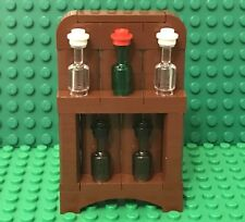 Lego MOC Home Interior Furniture Wine Drinks Display Shelf Case With Bottles