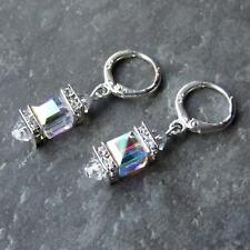 *SJ1* Sterling Silver Hoop Dangle Earrings w/ AB Swarovski Crystal Cube