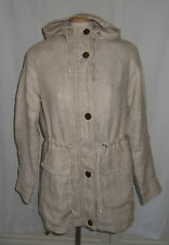 LANDS END 100% Linen Parka Jacket coat with hood  natural stone Brand new Size S