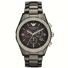 NEW EMPORIO ARMANI AR1455 BLACK CERAMIC WATCH - 2 YEARS WARRANTY