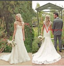New White/Ivory Lace Button zipper Wedding Dress Bridal Gown Stock Size US4-16W