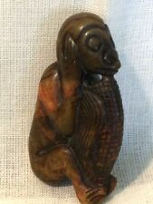 """Hetian Red Jadeite Nephrite Carved Monkey w Ear of Corn Ornament Pendant 3""""T EAC"""