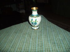 "Vintage Flowered Chinese Cloisonne Mini Vase 4"" W/ White, Pink & Green Vg !"