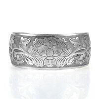 Nation Tibetan Tibet silver Peony Flower Bangle Cuff Bracelet Width: 2.5cm