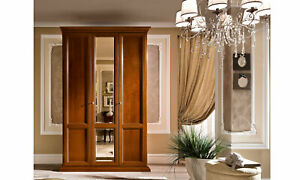Schlafzimmer Kleiderschrank 3-türig Massivholz Kirschbaumfarbe Klassische Möbel