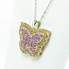14k Yellow Gold BUTTERFLY PINK & YELLOW SAPPHIRE PENDANT
