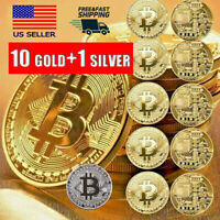 10 Gold+1 Silver Bitcoin Commemorative 2019 New Collectors Gold Plated Bitcoin