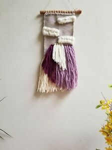 Woven Wall Hanging/Woven Wall Tapestry Weaving/Lavender, Purple,White Wall Decor