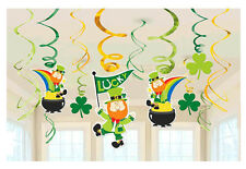 ST PATRICK'S DAY Party Hanging Swirl Decoration Leprechaun Shamrock Pot Of Gold