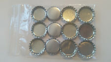 BOTTLE CAPS SHINY SILVER BLANK DIY PENDANT, BAILS, MAGNETS, GLUE CAPS INSERT NEW