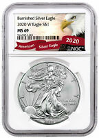 2020 W $1 1 oz Burnished American Silver Eagle NGC MS69 Red Banner Eagle Label