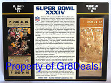 SUPER BOWL 34 ~ RAMS vs TITANS ~ NFL 22 KT GOLD SB XXXIV TICKET Willabee & Ward
