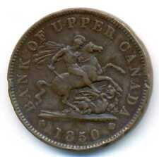 Canada Bank of Upper Canada Copper One Penny Bank Token 1850 VF