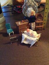 Vintage Doll House Furniture Lot Baby Bed Metal Japan Radiator Wooden Dresser +