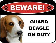 Beware Guard Beagle on Duty (v1) 9 inch x 11.5 inch Laminated Dog Sign