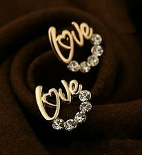 #1080 New Fashion Silver Plated Love Rhinestone stud earrings