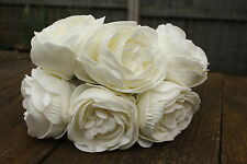 6 x IVORY / PALE CREAM  FOAM  PEONY ROSES 9cm  WEDDING BRIDAL FLOWERS