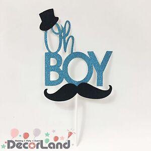 Oh Boy Baby Shower Mustache Glitter Blue Cake Topper