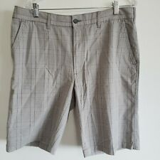 Axist Mens 36 Grey Gray Plaid Shorts Modern Fit NEW Pockets Zip Button Check 36W