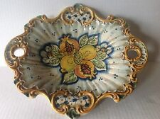 Caltagirone Italian Art Pottery Bowl Centrepiece  Handpainted Fruits  E. Boria