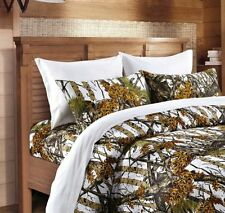 WHITE CAMO SHEETS QUEEN SIZE WOODS CAMO BEDDING 6 SET BED CAMOUFLAGE FLAT FITTED