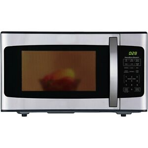 Hamilton Beach 1.1 Cu. Ft. 1000W Black Stainless Steel Microwave White & Black
