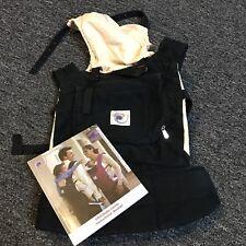 Original Ergo Baby Carrier Black and Cream Natural Cotton Backpack Manual EUC