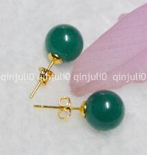 Pretty 10mm Jewelry Natural Dark Green Jade Ball Gold Stud Earrings JE63
