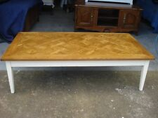 Large French Provincial Oak Parquetry Top Coffee Table With White Base