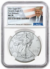 2021 American Silver Eagle T-1 Ngc Ms70 First Release Trump Label Presale