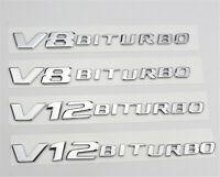 2Pcs V8BITURBO V12BITURBO Emblem Fender Sticker Decals for Mercedes Benz