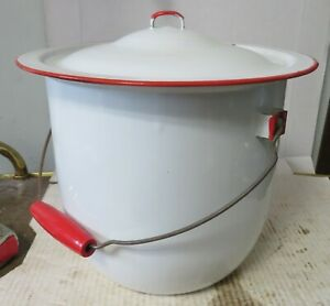 Vintage Large White Enamel Ware Chamber Pot with Lid Red Wood Handle