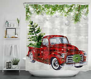 Red Truck Christmas Tree Fir Branches Shower Curtain Bathroom Accessory Sets