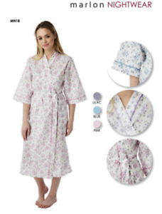 LADIES COTTON WRAP DRESSING GOWNS ROBES WITH POCKETS SIZES 10 TO 30