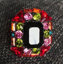 YSL YVES SAINT LAURENT Square Multicolor stone ring Size 6
