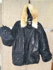 Blouson Redskins aviateur/bombers cuir à capuche à fourrure XXL