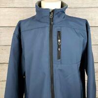Tahoe Pass Mens 2XL Full Zip Front Jacket Blue Fleece Line Soft Shell Pockets