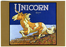 Unicorn~Mythological Horse~Historical Orange Fruit Crate Label~New 1979 Postcard