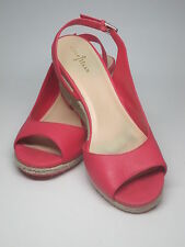 Cole Haan Sexy Pink Leather Espadrille Wedge Heels Sandals Pumps Slingback $275