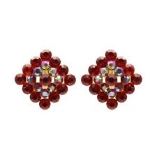 """Red and AB Stone Earrings. Clip On 1"""""""