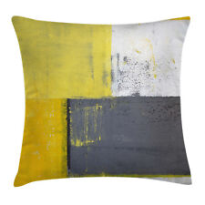 Abstract Throw Pillow Case Light Yellow Squares Square Cushion Cover 16 Inches