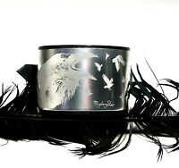 Black Leather Crow Cuff Wristband Bracelet Gothic Steampunk adjustable Handmade