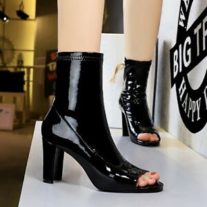 Women's Ankle Boots Black Peep Toe Patent Leather Block High Heels Party Shoes