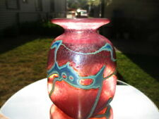 ROBERT HELD ROSE CRANBERRY IRIDESCENT GLASS BOTTLE VASE BLUE ABSTRACT DECORATION