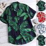 Vintage Hawaii Men's Floral Printed Shirts Short Sleeve Casual Blouse Beach Tops